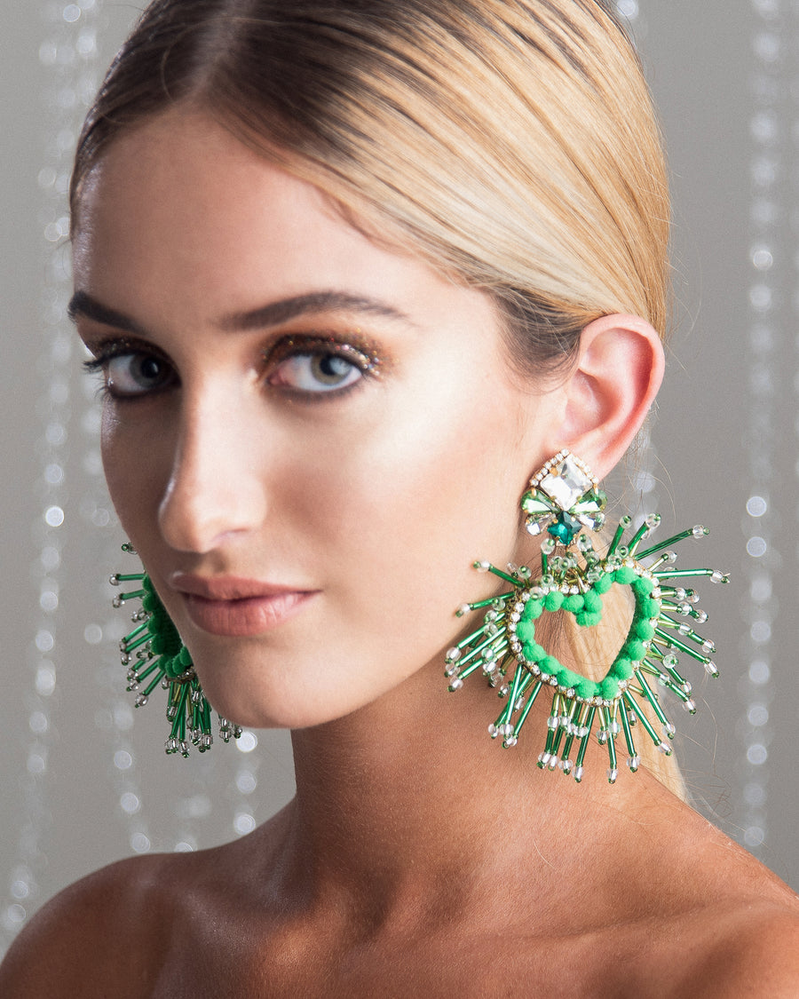 Love Hearts Green Earrings