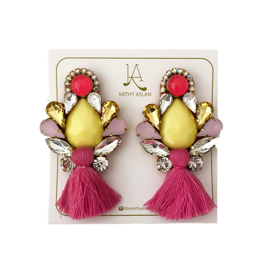 Mini Boho Chic Hot Pink and Yellow Earrings