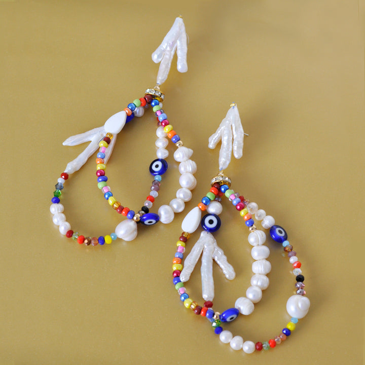 Arrecife Earrings in Pearl and Multicolor