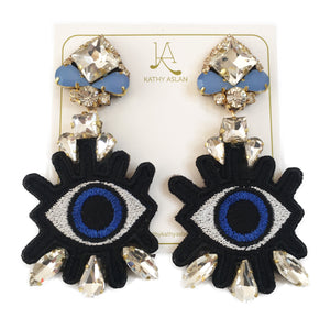 Pop Eye Clear and Baby Blue Earrings