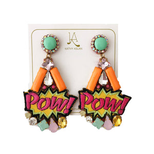 Pop Pow Orange Multicolor Earrings