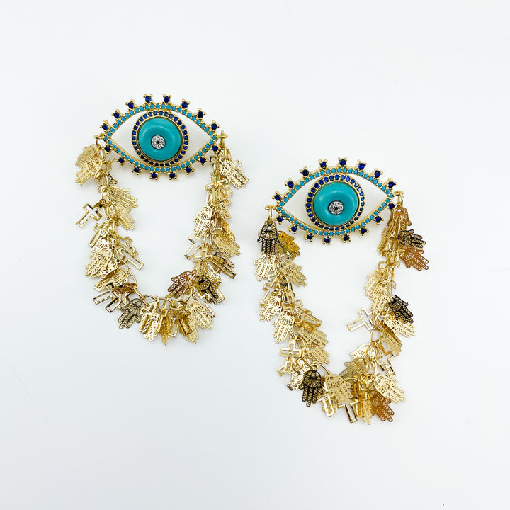 Golden Eye Aqua Blue Earrings