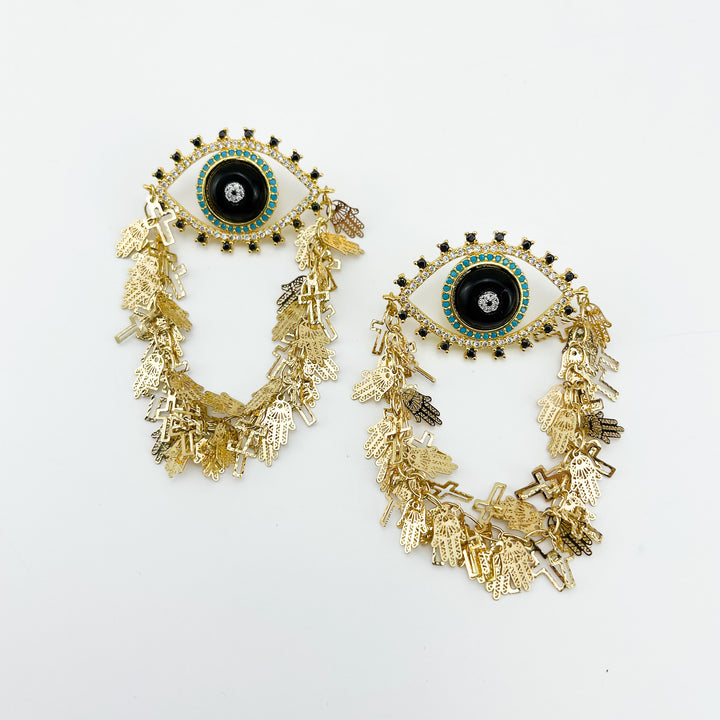 Golden Eye Black Earrings