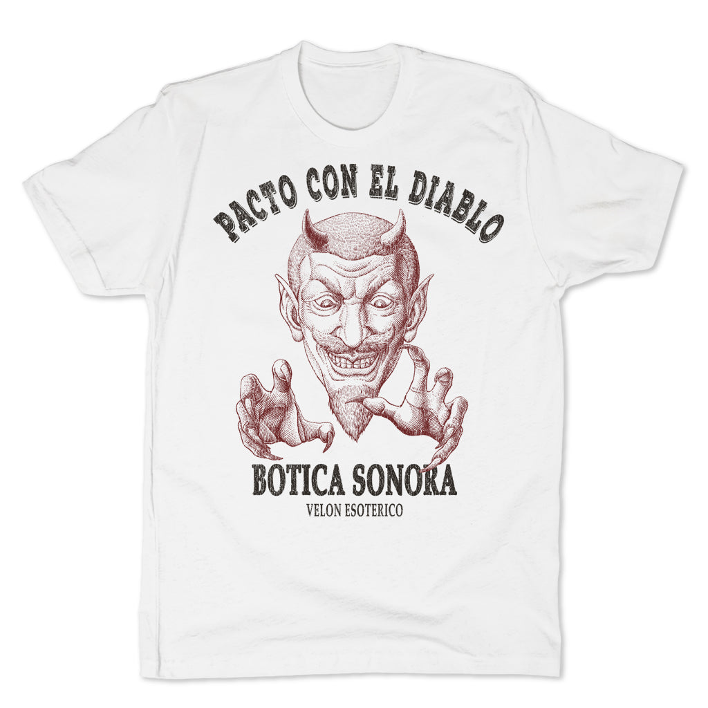 Botica-Sonora-Pacto-Con-El-Diablo-Black-Magic-Mens-T-Shirt-White
