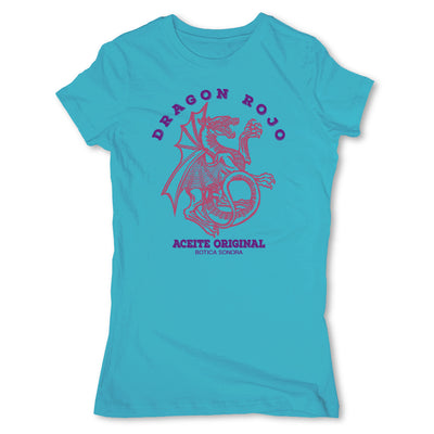Botica-Sonora-Dragon-Rojo-Protection-Spell-Womens-T-Shirt-Turquoise