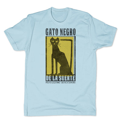 Botica-Sonora-Gato-Negro-Good-Luck-Mens-T-Shirt-Blue