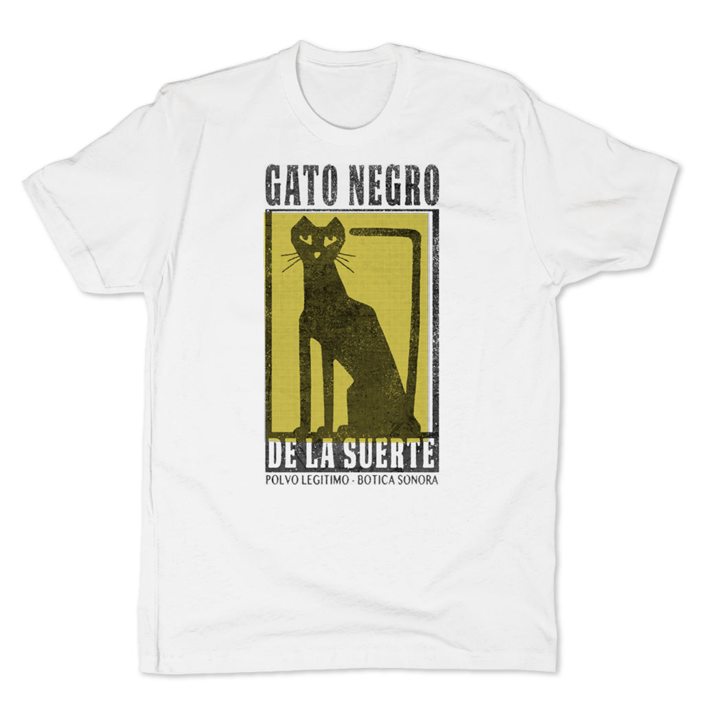 Botica-Sonora-Gato-Negro-Good-Luck-Mens-T-Shirt-White