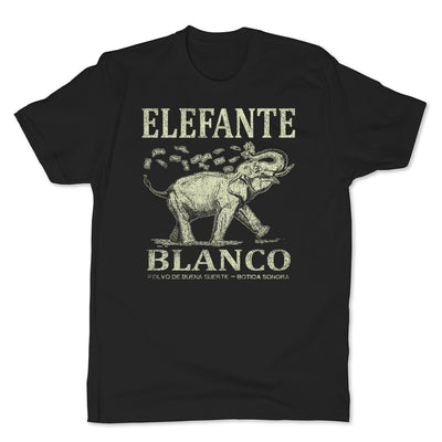 Botica-Sonora-Elefante-Blanco-Good-Luck-Mens-T-Shirt-Black