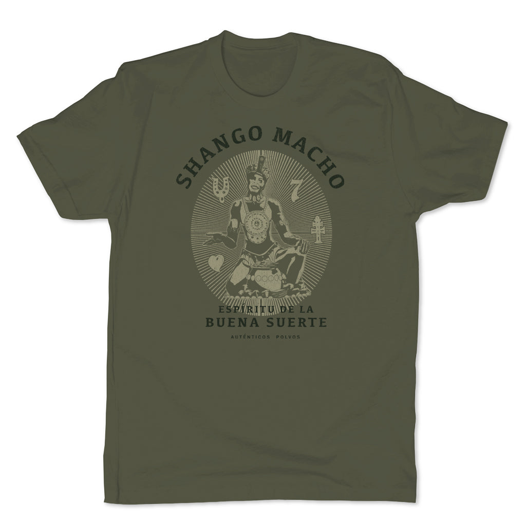 Botica-Sonora-Shango-Macho-Good-Luck-Mens-T-Shirt-Green