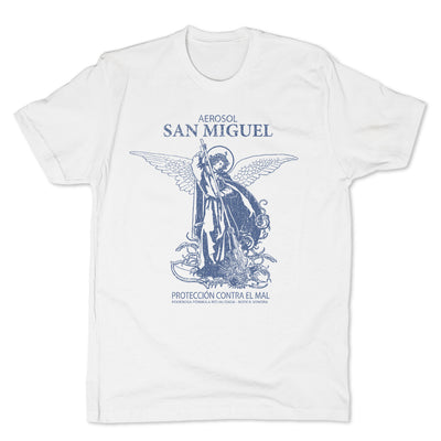 Botica-Sonora-San-Miguel-Protection-Mens-T-Shirt-White