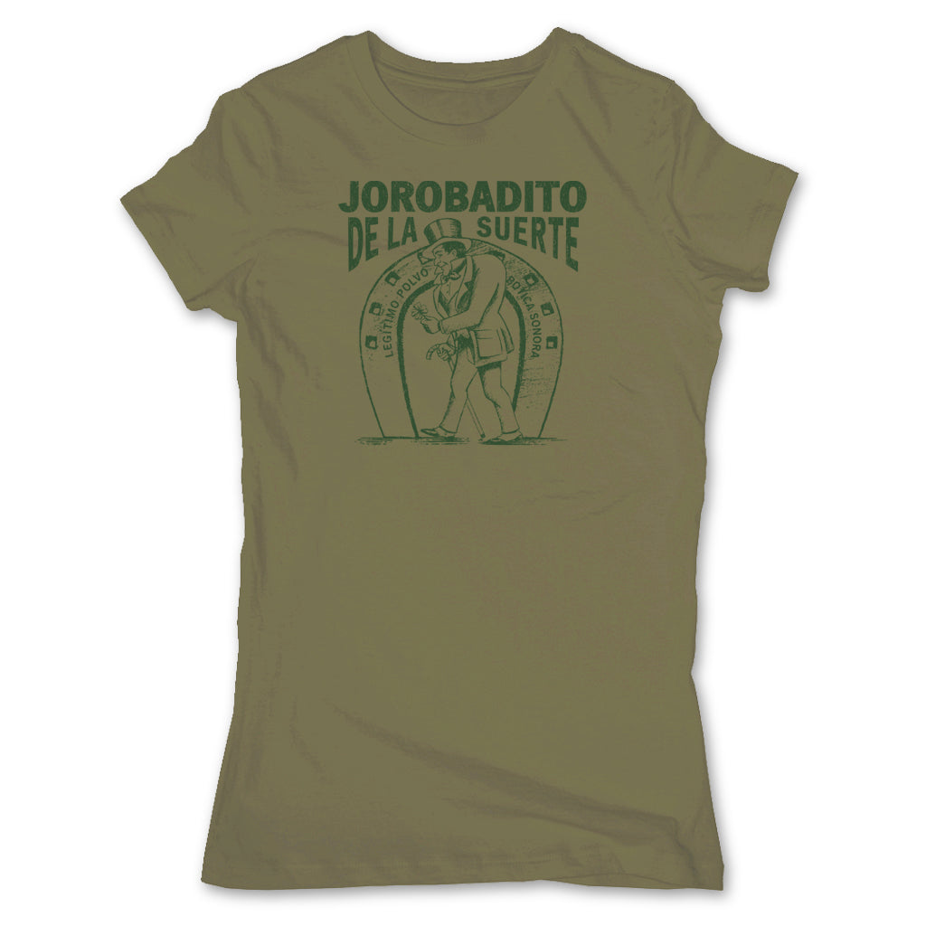 Botica-Sonora-Jorobadito-Good-Luck-Womens-T-Shirt-Green