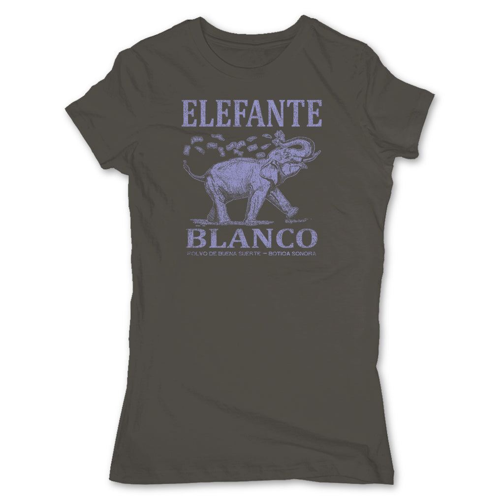 Botica-Sonora-Elefante-Blanco-Good-Luck-Womens-T-Shirt-Grey