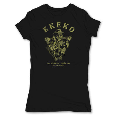 Botica-Sonora-Ekeko-Good-Luck-Womens-T-Shirt-Black
