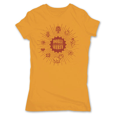 Botica-Sonora-Doble-Suerte-Good-Luck-Womens-T-Shirt-Orange