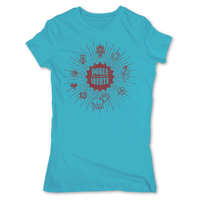 Botica-Sonora-Doble-Suerte-Good-Luck-Womens-T-Shirt-Blue