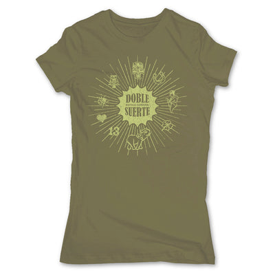 Botica-Sonora-Doble-Suerte-Good-Luck-Womens-T-Shirt-Green