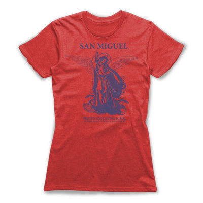San-Miguel-Protection-Spells-Women-T-Shirt-Red