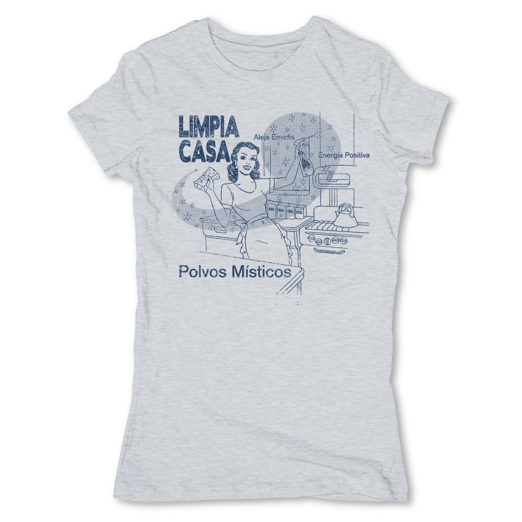 Botica-Sonora-Limpia-Casa-White-Magic-Womens-T-Shirt-Grey