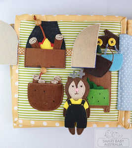 Busy Book / Quiet Book /Travel Toy - Animal Doll House