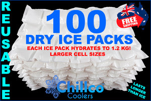 100 X CHILLCO DRY GEL ICE PACKS