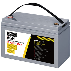 Giantz 100Ah Deep Cycle Battery & Battery Box 12V AGM Marine Sealed Power Solar Caravan 4WD Camping