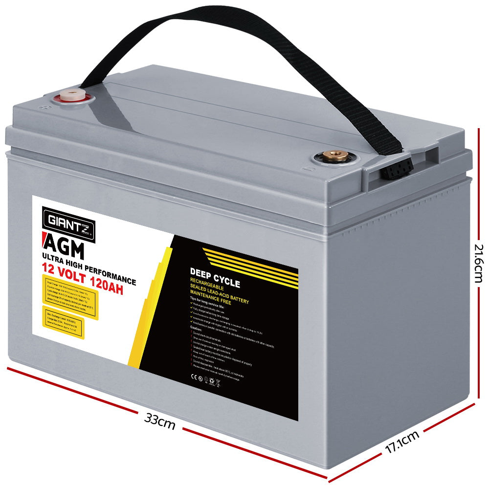 Giantz AGM Deep Cycle Battery 12V 120Ah Marine Sealed Power Portable Box Sola