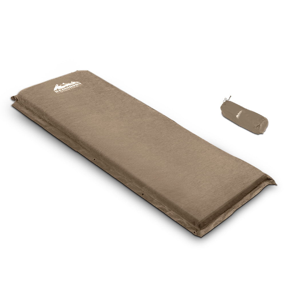 Weisshorn Single Size Self Inflating Mattress Mat Joinable - Coffee 10cm