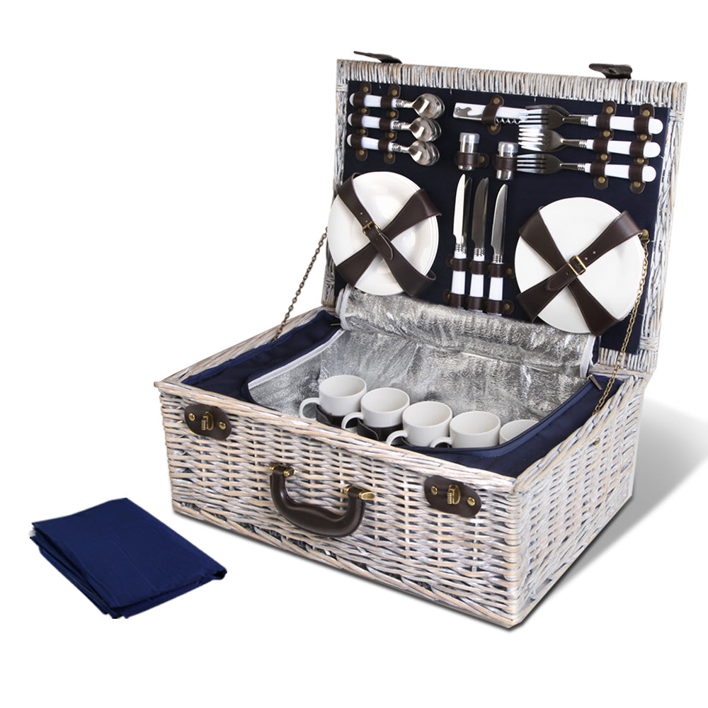 Alfresco 6-Person Picnic Basket Cooler Bag Wicker PU Fastening Straps Plates