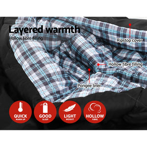 Weisshorn Sleeping Bag Double Camping Hiking -10°C to 15°C Winter Thermal Grey