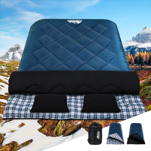 Weisshorn Sleeping Bag Double Camping Hiking -10°C to 15°C Winter Thermal Navy