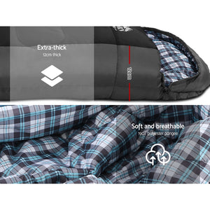 Weisshorn Sleeping Bag Single Camping Hiking -20°C to 10°C Winter Thermal Grey