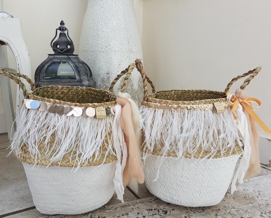 Hand Crafted Seagrass basket with Peach and Cream Silk/Wool ribbon