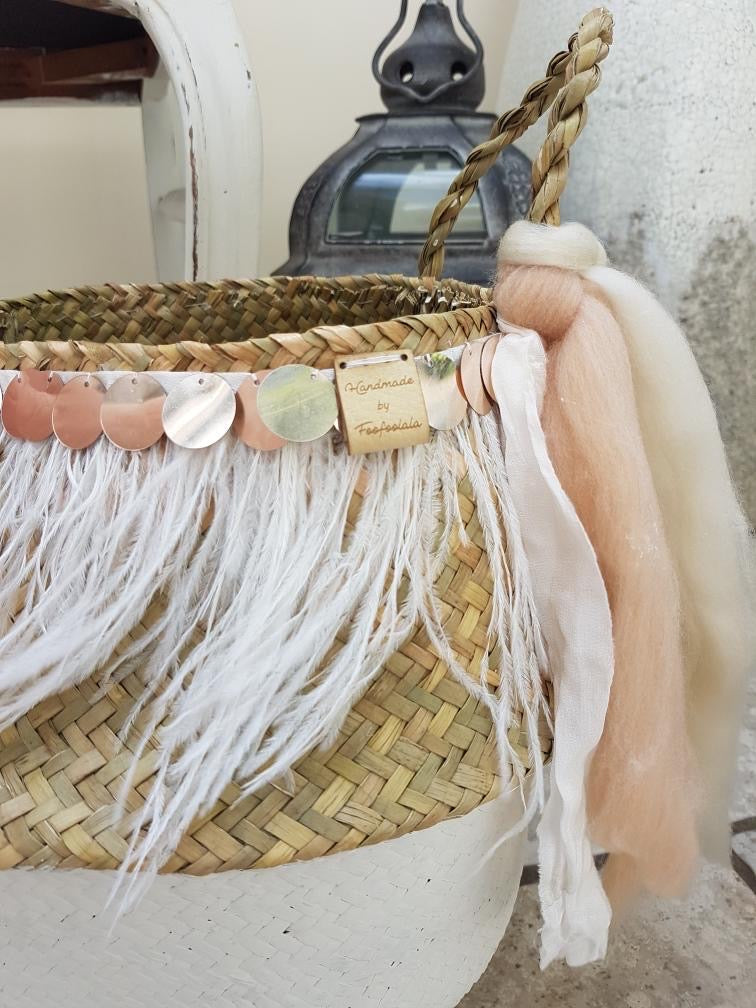 Hand Crafted Seagrass basket with Peach & Cream Ribbons (White)