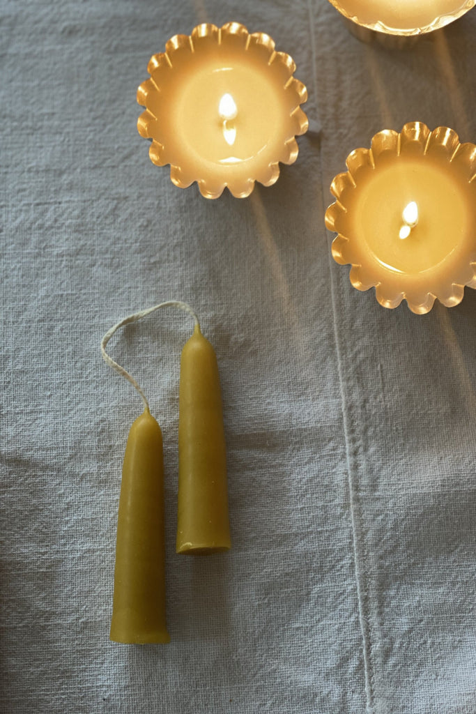 100% Pure Beeswax Hand Dipped Stubby Candles x 2