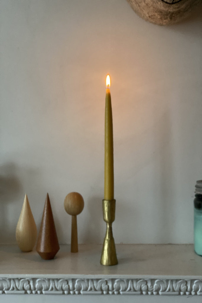 A Pair of Hand Dipped Taper Beeswax Candles