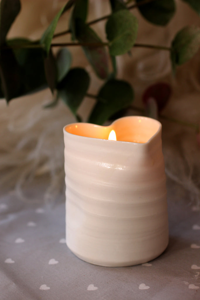 Massage Oil Candle for Skin and Mind - hand thrown, porcelain container