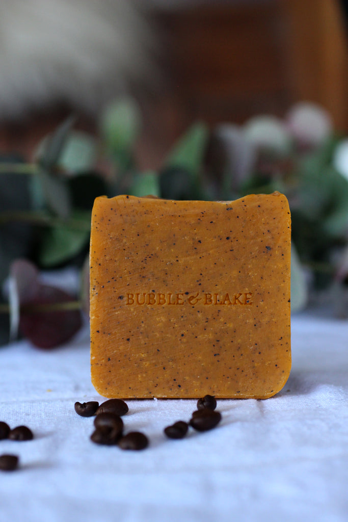 Baburu & Blake Into the Woods Sweet Orange, Cedarwood and Patchouli with Coffee Grounds - Certified Natural Vegan Handmade Soap - Cold Process
