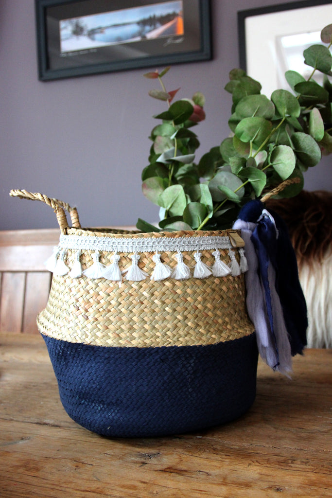 Hand Crafted Seagrass basket with Silk & Wool ribbons
