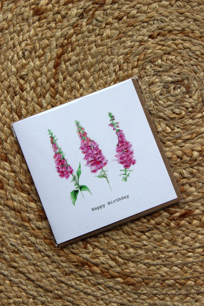 Foxgloves Birthday Card