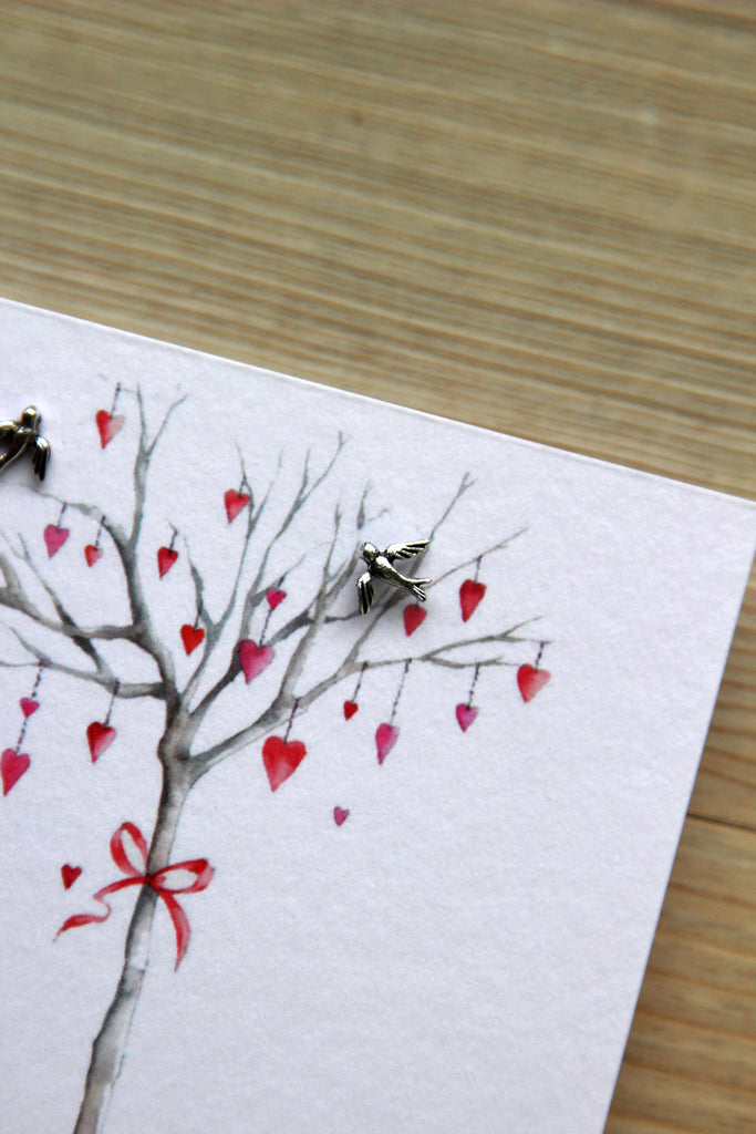 Boxed Sterling Silver Earring Card - Heart Tree