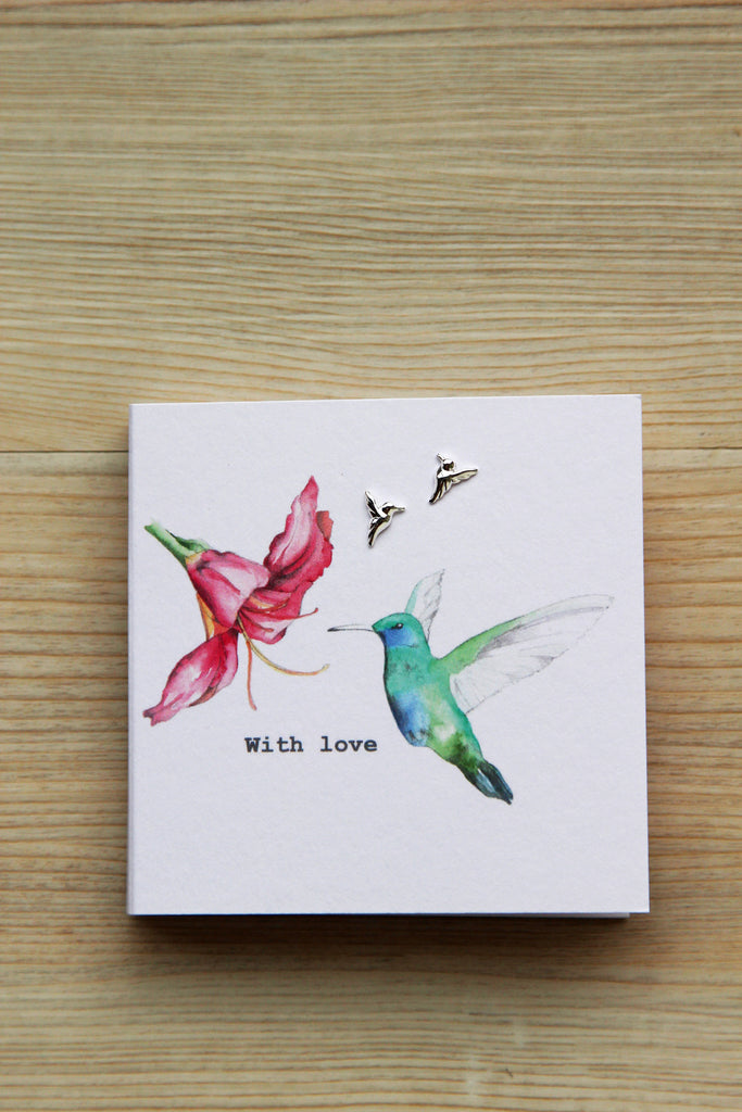 Boxed Sterling Silver Earring Card - Hummingbird