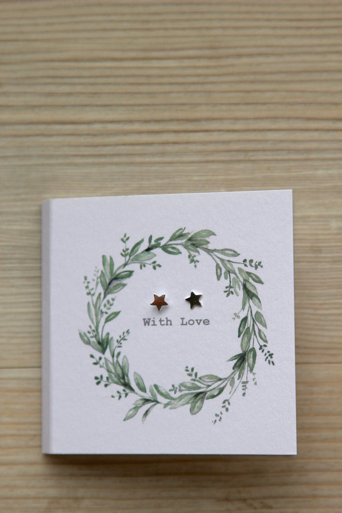 Boxed Sterling Silver Earring Card - Eucalyptus Wreath