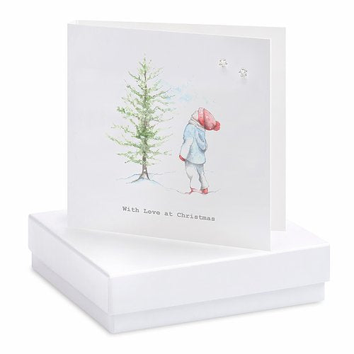 Crumble & Core, Boxed Christmas Boy Card with Silver Earrings