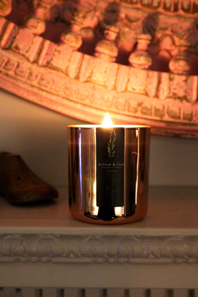 Little Christmas Tree - Wood Wick Candle (Rose Gold)