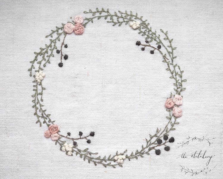 Stitchery Ranunculus Wreath - Mini Embroidery Kit