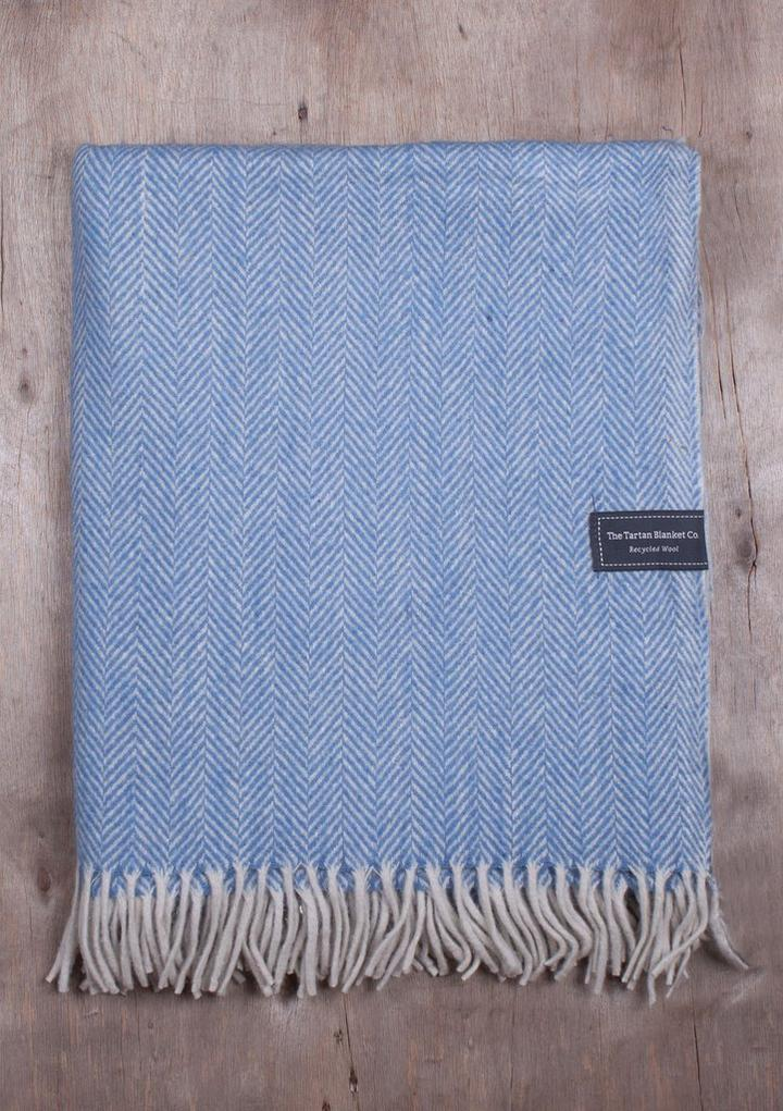 The Tartan Blanket Co - Herringbone Wool Knee Banket Sky Blue