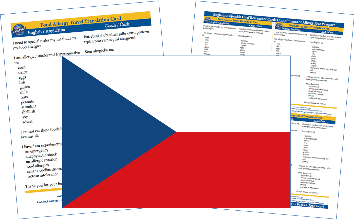 Czech English Food Allergy Cards