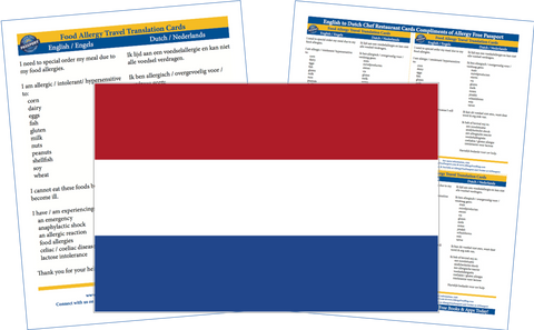 GlutenFree Passport Allergy Free Cards Dutch / English Food Allergy Cards
