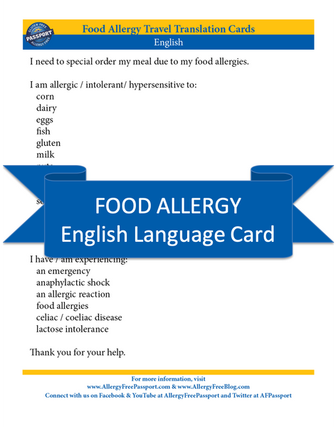 GlutenFree Passport Allergy Free Cards English Food Allergy Cards