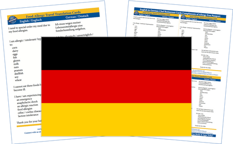 GlutenFree Passport Allergy Free Cards German / English Food Allergy Cards